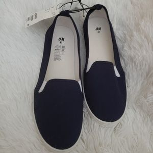H&M Blue Canvas Slip On Shoes